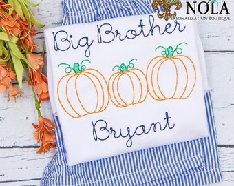 Big Brother Outfit, Pumpkin Brother Shirt and Shorts Set, Pumpkin Brother Outfit