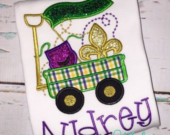 Mardi Gras Wagon Shirt, Bodysuit, Romper, Gown or Bead Bag