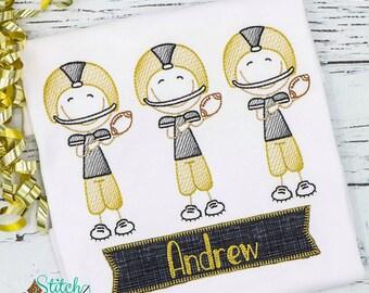 Football Player Sketch Embroidery, Football Player Shirt, Football Player Embroidery, Football Spirit Shirt, Stick Figure Football Player
