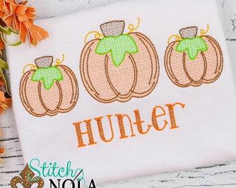 Pumpkin Sketch Personalized, Pumpkin Shirt, Pumpkin Embroidery, Pumpkin Trio Shirt