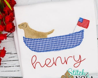 Patriotic Dog in Canoe with American Flag, Patriotic Dog  Applique, Red White Blue Applique, America Applique, Memorial Day, Fourth of July