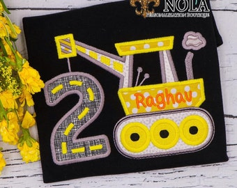 Construction Birthday on Colored Shirt, Construction Birthday Number Applique, Boy Birthday Shirt