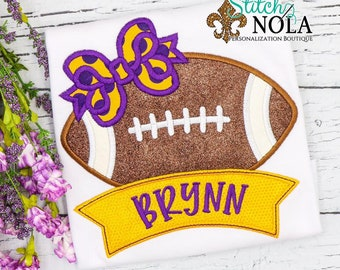 Football with Bow and Name Banner Applique Shirt, Purple and Gold Football Shirt, Girls Football Tee