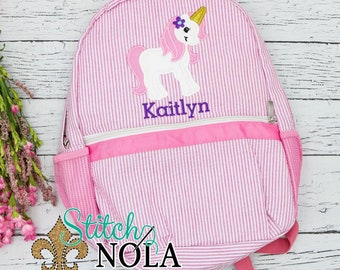 Seersucker Backpack with Unicorn Applique, Seersucker Diaper Bag, Seersucker School Bag, Seersucker Bag, Diaper Bag, School Bag, Book Bag,