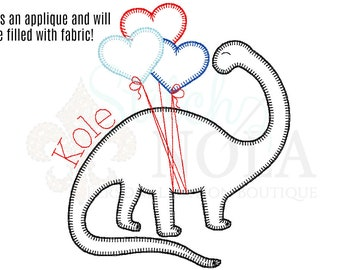 Dinosaur with Heart Balloons Applique