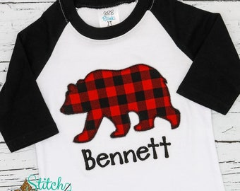 Bear Applique, Buffalo Check Bear Applique, Boy Bear Applique, Bear with Bow Applique, Christmas Applique