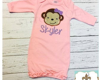 Pink Ruffle Infant Gown with Monkey Applique