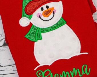 Christmas Snowman Applique, Boy Snowman Applique, Girl Snowman Applique, Snowman Applique,  Christmas Shirt, XMAS Pics