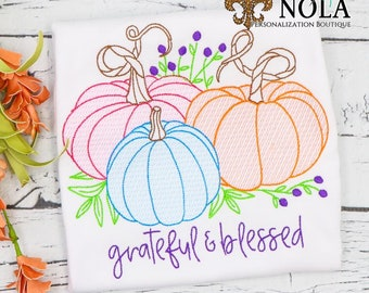 Pumpkin Sketch Shirt, Grateful and Blessed Shirt, Girls Fall Shirt