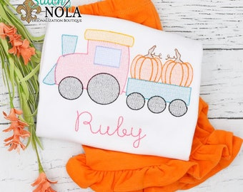 Pumpkin Train Shirt and Shorts Set, Pumpkin Patch Outfit, Pumpkin Embroidery, Train with Pumpkin Outfit
