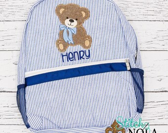 Seersucker Backpack with Teddy Bear, Seersucker Diaper Bag, Seersucker School Bag, Seersucker Bag, Diaper Bag, School Bag, Book Bag, Backpac