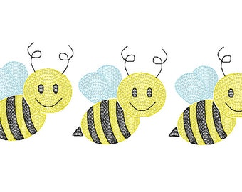 Bumble Bee Trio Sketch Embroidery, Bee Trio, Honey Bee Embroidery