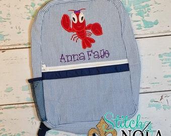 Seersucker Crawfish Backpack, Seersucker Diaper Bag, Seersucker School Bag, Seersucker Bag, Diaper Bag, School Bag, Book Bag, Backpack
