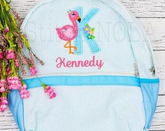 Seersucker Backpack with Flamingo Alpha, Seersucker Diaper Bag, Seersucker School Bag, Seersucker Bag, Diaper Bag, School Bag, Book Bag