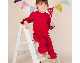 Red Long Sleeve RUFFLE Romper with Applique/Name