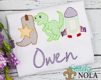 Cowboy, Dinosaur, Spaceship Trio, Favorite Toys Trio, Toys Embroidery
