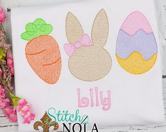 Carrot Bunny Egg Trio Sketch, Easter Trio Sketch Embroidery, Spring Embroidery, Easter Shirt, Girl Easter Shirt