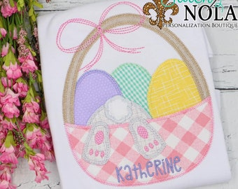 Easter Basket with Bunny Applique, Easter Monogram Shirt, Spring Applique, Easter Applique, Easter Bunny Shirt