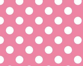 Hot Pink MEDIUM Dots Fabric, Riley Blake, 100% Cotton Pink Polka Dots