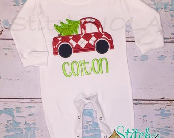 Truck with Christmas Tree Romper, T-Shirt or Bodysuit