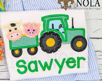 Tractor with Animals Applique, Tractor with Animals Shirt, Tractor with Animals, Farm Animals