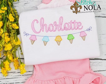 Ice Cream on A String Sketch Embroidery Shirt and Shorts Set, Girl Ice Cream Outfit