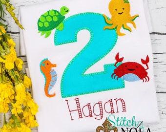Sea Creature Birthday Applique, Sea Animals Birthday Applique, Sea Turtle Octopus Seahorse and Crab Embroidery