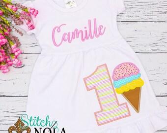 Ice Cream Applique, Ice Cream Birthday Shirt, Ice Cream Birthday