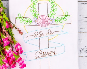 He Is Risen Cross Sketch, Easter Sketch Embroidery, Spring Embroidery, Easter Shirt, Religious Easter Shirt