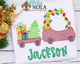 Vintage Christmas Coupe And Wagon Embroidery, Coupe With Lights, Wagon With Presents, Christmas Sketch Design, Christmas Shirt