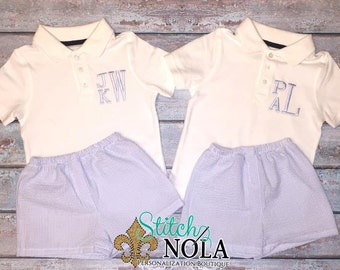 Monogrammed Collared Shirt and Seersucker Shorts Set