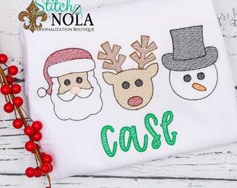Christmas Trio Sketch Embroidery, Santa, Snowman, Reindeer Sketch Embroidery,  Christmas Design