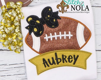 Football with Bow and Name Banner Shirt, Personalized Girls Football Shirt, Black and Gold Football Shirt