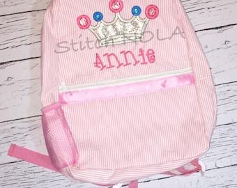 Princess Crown Seersucker Backpack/Diaper Bag, Seersucker Diaper Bag, Seersucker School Bag, Seersucker Bag, Diaper Bag, School Bag, Book B