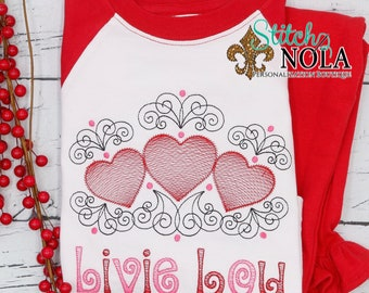 Heart Trio Sketch Top And Bottom Set, Valentine's Day Outfit, Heart Embroidery, Girls Valentine's Day Outfit, Monogram Embroidery
