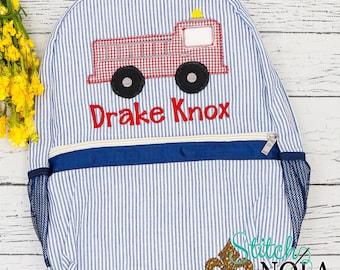 Seersucker Backpack with Firetruck, Seersucker Diaper Bag, Seersucker School Bag, Seersucker Bag, Diaper Bag, School Bag, Book Bag, Backpack