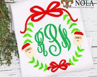 Santa Claus Monogrammed Shirt, Personalized Christmas Shirt, Christmas Tee