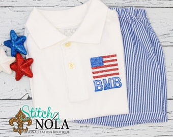 Flag Collared Shirt & Seersucker Shorts Set, Flag Shirt, Flag Outfit, Fourth of July Outfit