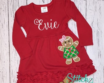 Gingerbread Applique on Red Dress