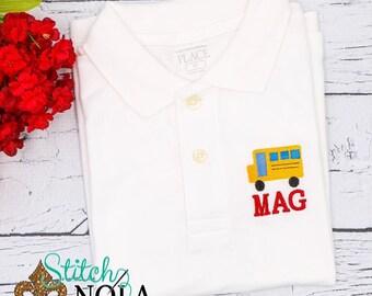School Bus Monogrammed Shirt, Back to School Polo, School Bus Shirt