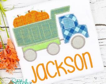 Pumpkin Dump Truck Applique, Pumpkin Applique, Boy Pumpkin Applique, Fall Applique, Pumpkin Patch Outfit, Dump Truck Applique