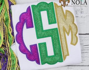 Mardi Gras Scallop Monogram Applique, Purple Green And Gold Monogram, Mardi Gras Shirt