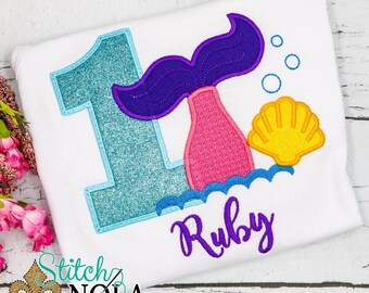 Mermaid Birthday Applique, Mermaid Tail Applique, Mermaid Birthday