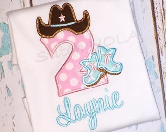 Cowgirl Themed Birthday Cowboy Hat & Boots Number Shirt or Bodysuit