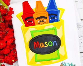 Crayons Applique, Crayons Shirt, Crayon, Pre-School Applique, Pre-School Shirt, Back to School Shirt, Back to School Applique