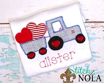 Valentine's Day Tractor Applique, Tractor with Hearts Applique, Boys Valentine's Day Shirt, Heart Applique, Tractor Applique, Tractor Shirt