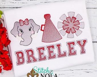 Elephant Sketch Personalized, Girls Elephant Cheer Trio Shirt, Personalized Spirit Shirt