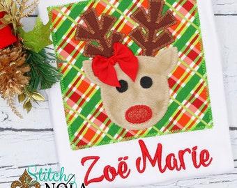 Reindeer Applique, Christmas Reindeer Applique, Rudolph Applique, Personalized XMAS Applique, Personalized XMAS Tee, XMAS Pictures