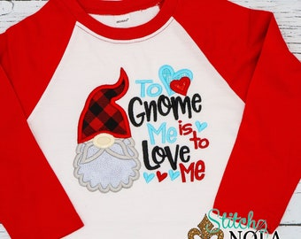 Gnome Heart Applique, Valentines Day Appliqué