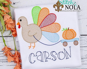 Turkey Sketch Shirt, Turkey and Wagon with Pumpkin Shirt, Thanksgiving Shirt